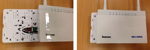 """Routern skjuts på mediaomvandlaren som ett lock, så att de två boxarnas kontakter går i varandra. Eftersom dessa apparater sätts ihop, som om de vore en enda låda händer det ofta att hela detta """"paket"""" benämns med samma ord (mediaomvandlare eller router) och ibland används även benämningen gateway som är en del i routern."""